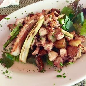Warm Octopus Salad, asparagus, potatoes, honey-chile vinaigrette. Amazing.