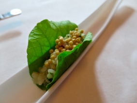 Amuse 2: Nasturtium leaf, raw scallop, sushi rice, puffed rice