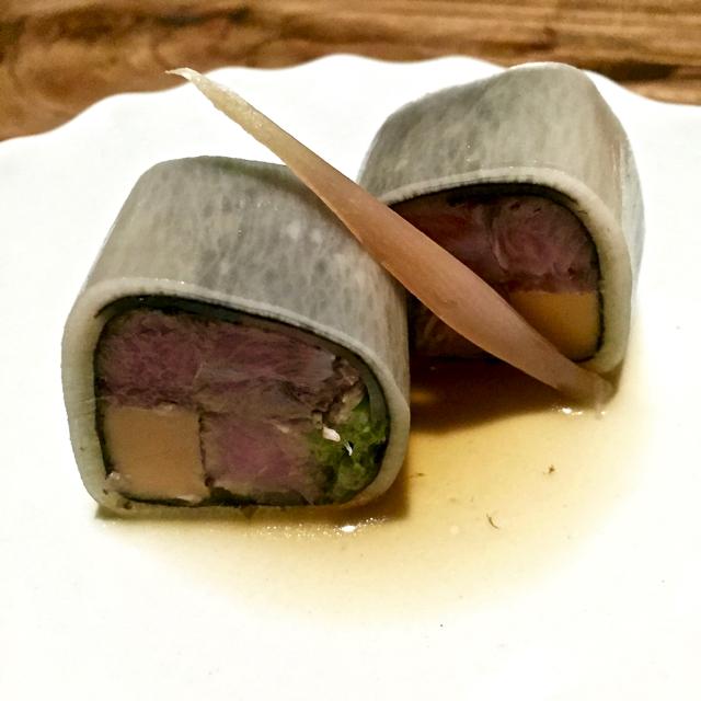 Cured tuna belly, monkfish liver, daikon, yuzu, pickles