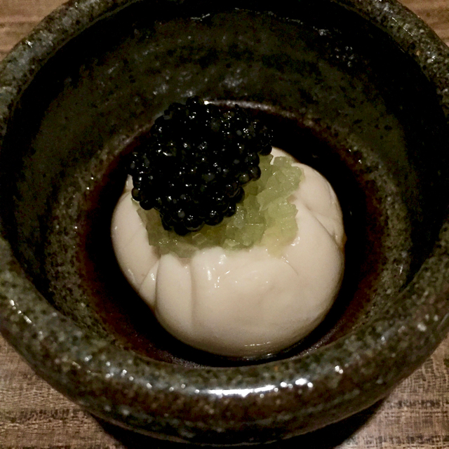 White sturgeon caviar, sesame tofu with uni filling, green apple, bonito broth