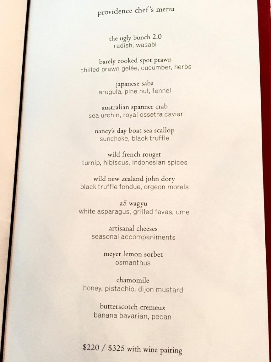 Chef's Menu 3/25/16