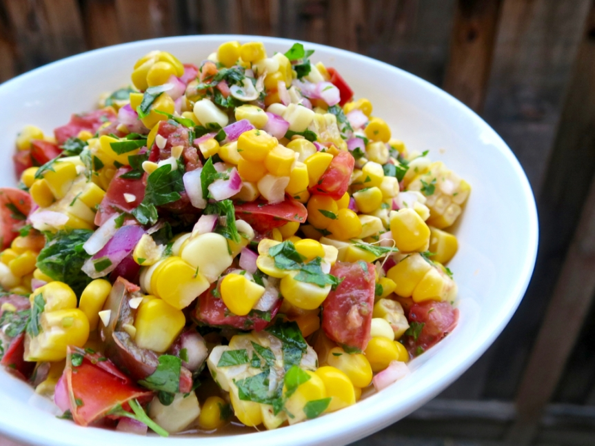 Sweet Corn Salad with Tomato, Parsley, andMint