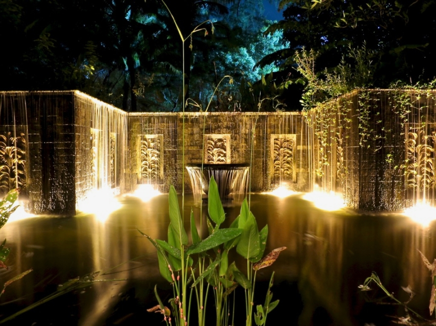 Our villa waterfalls at night - Photo cred: Mr. A